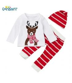 Newborn Baby Boy Christmas Deer Print Long Sleeve