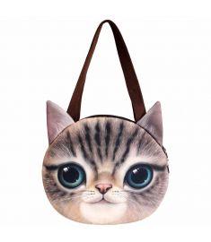 Women Cat Head Print Clutch Purse