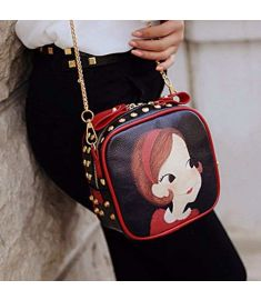 Women Synthetic Leather Rivet Decorated Character Pattern Shoulder Bag