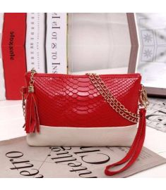 Women Synthetic Leather Tassel Clutch Bag