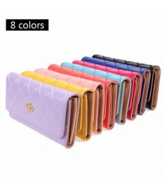 Women Clutch Long Purse Synthetic Leather Tri-Fold Wallet