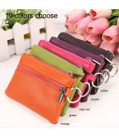 Women Synthetic Leather Zipper Small Coin Bag Key Holder Clutch Wallet Mini Purse