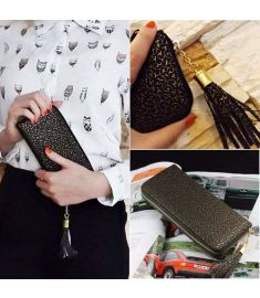 Women Rectangle Money Wallet Printed Long Purse Clutch