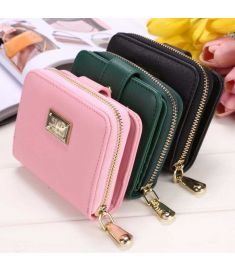 Women Girls Vintage Style Small Wallet Card Holder Zip Coin Purse