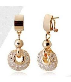 Luxury catring 18k Rose Gold Drop Earrings Champagne Wire Zircon Crystal
