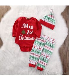 pudcoco My First Christmas 3PCS Cute Long Sleeve