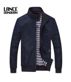 Solid color Casual Jacket Men Spring Autumn Outerwear Mandarin Collar Clothing