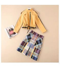 The new Long sleeve Pure color The jacket colorful plaid skirt suit