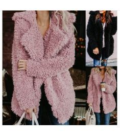 Outerwear & Coats Jackets fashion Womens Ladies Warm Artificial Wool Lapel Winter coats