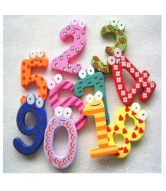 Number 0-9 Wooden Fridge Magnet Kids Math Toys Cartoon Animal Numbers