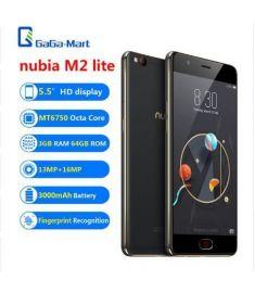 "Original ZTE nubia M2 lite 4G Mobile Phone 5.5"" MT6750 3GB+64GB 13MP+16MP 3000mAh Fingerprint Recognition Smartphone Black &Gold"