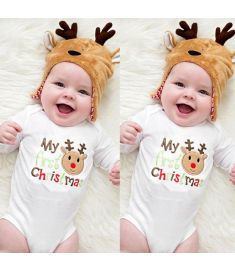 pudcoco Cotton Deer My 1st Newborn Baby Boy Girls Romper