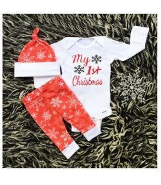596dab7652a6 Newborn Infant Baby Boys Clothes Long Sleeve White My First Christmas  Bodysuit