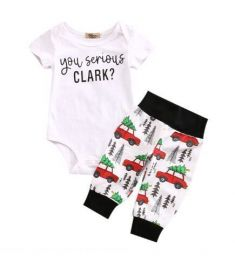 Christmas Cute Newborn Infant Baby Boy Clothes Romper Tops + Bus Long Pants