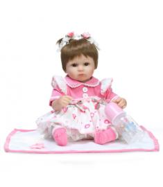 "Reborn baby toy dolls 18""41cm soft silicone vinyl reborn baby girl dolls"
