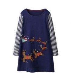 Baby Girls Dress with Animal Applique Kids Clothes Long Sleeve Children Dresses