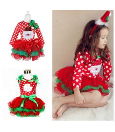 Fancy New Year Baby Girl Santa Dress For Girls