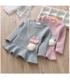 MUQGEW Winter Toddler Kids Baby Girl Cartoon Striped Dress