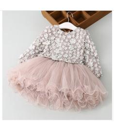 New Lace Flower Princess Dress 2018 Spring Girl Dress Winter Long Sleeve