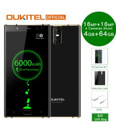 "Oukitel K3 Mobile Phone MT6750T Octa Core 4GB+64GB 5.5"" Dual 2.5D Screen 6000mAh 4 Cameras 16MP+2MP Front Fingerprint Smartphone"