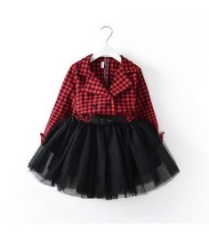 pudcoco Red Plaids Kids Baby Girls Long Sleeve Dresses