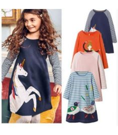 NEWEST Baby Girl Dress with Animals Princess Long Sleeve Dresses