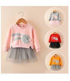 MUQGEW Winter Kids Baby Girl Clothes Cartoon Bunny Princess Patchwork Sweatshirt