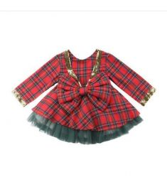 Kid Girl Plaid Tutu Bow Backless Dress 2pcs Party Outfits Set Clothes Christmas