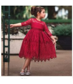WFRV Flower Lace Embroidery Kids Dresses for Girl Ball Gown
