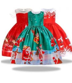 New Year Girl Christmas Dress Baby Winter Snowman
