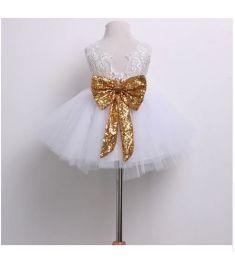 Kids Baby Girl Sequins Boknot Dress Party Dresses Christmas Costume Dress