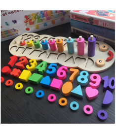Children Wooden Montessori Materials Learning To Count Numbers Matching Digital Shape
