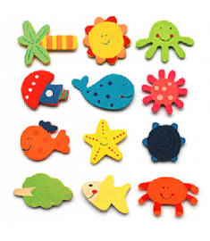 12 Pcs/set Wooden Cartoon Sea Marine Life Fridge Magnet Sticker Kids Math Toys