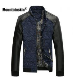 Mountainskin PU Leather Patchwork Men's Jackets 6XL Autumn Fashion Coats