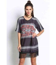 Women's Medium Sleeve Print Casual Loose Tassel Dress