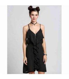 Women Fashion V Neck High Waist Solid Zip-up Ruffle Chiffon Short Dress