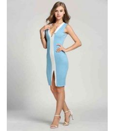 Women Deep Bodycon Front Slit Party Dress