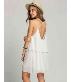 Women Chiffon Cross Strap Backless Ruffles Solid Casual Dress