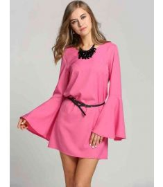 Women's Flare Long Sleeve Loose Solid Straight Dress