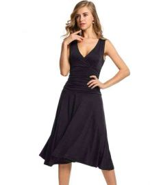 Women Ladies Stretch Sundress Draped Calf Length Party Slim Pleated Dress