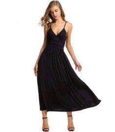 Women Adjustable Strap Maxi Dress Slim Pleated