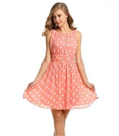 Zeagoo Women Chiffon Polka Dots Pleated Party Cocktail Dress