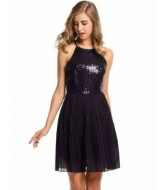 Women Ladies Sundress Sequins Chiffon Patchwork Slim Dress With Nacklace