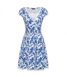 Women Cap Sleeve Floral Pleated Dress Lace Decor Elastic Waist Party Slim Mini Dress