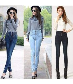 Women Elastic Waist High Waist Skinny Long Pencil Pants Jeans