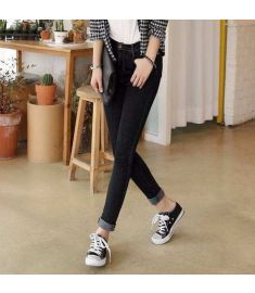 Korea Fashion Women's Stretch Pencil Pants Casual Slim Skinny Jeans Trouser