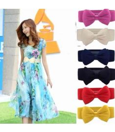 Sweet Women Bowknot Elastic Bow Wide Stretch Buckle Waistband Waist Belt