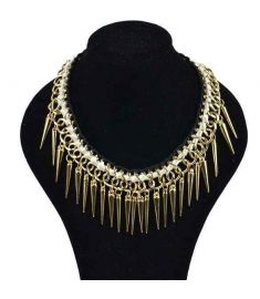 Individual New Style Gold Alloy Exaggerate Rivet Spike Necklace
