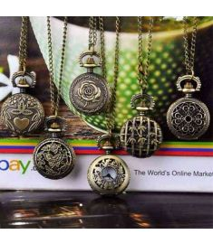 Vintage Style Bronze Steampunk Quartz Necklace Pocket Watch