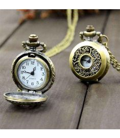 Retro Vintage Style Bronze Steampunk Quartz Necklace Clock Pocket Watch Floral Hollow
